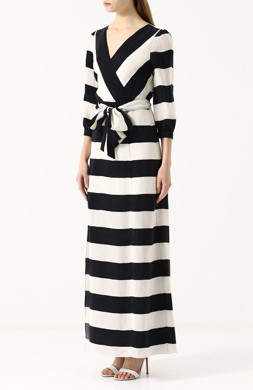 26a14d30689 Платье-миди в контрастную полоску с широким поясом Alice + Olivia черно- белое