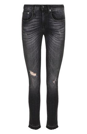 Укороченные джинсы-скинни с потертостями R13 черные   Фото №1