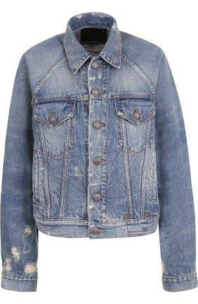 Джинсовая куртка свободного кроя с потертостями R13 синяя   Фото №1