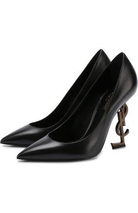 Женская кожаные туфли opyum на фигурной шпильке SAINT LAURENT черного цвета, арт. 472011/AKPTT   Фото 1