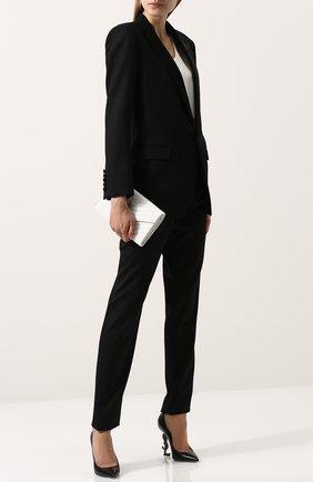 Женская кожаные туфли opyum на фигурной шпильке SAINT LAURENT черного цвета, арт. 472011/AKPTT   Фото 2