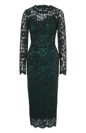 Приталенное кружевное платье-миди с длинным рукавом | Фото №1