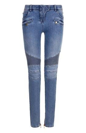 Женские джинсы-скинни с потертостями BALMAIN голубого цвета, арт. 125453/136K | Фото 1