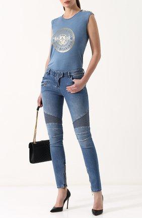Женские джинсы-скинни с потертостями BALMAIN голубого цвета, арт. 125453/136K | Фото 2