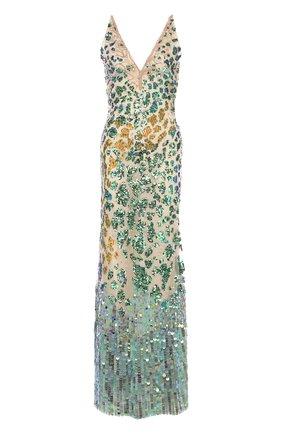 Приталенное платье-макси с V-образным вырезом и пайетками | Фото №1
