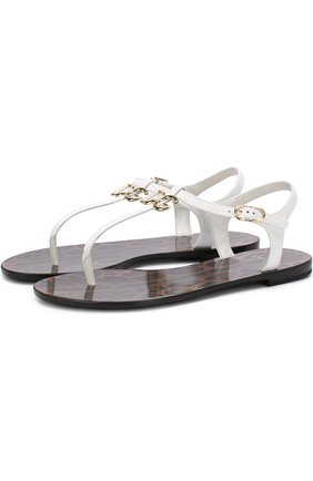 Кожаные сандалии с логотипом бренда | Фото №1