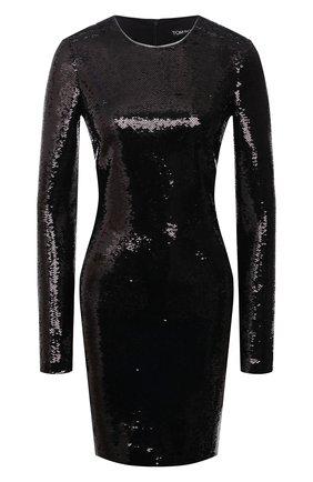 Платье-футляр с длинным рукавом и пайетками | Фото №1