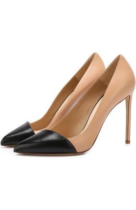 Кожаные туфли на шпильке Francesco Russo бежевые | Фото №1