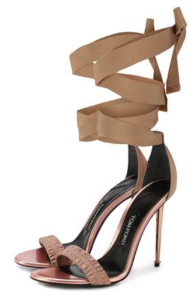 Текстильные босоножки Metal Heel на лентах | Фото №1