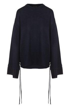 Однотонный пуловер свободного кроя с круглым вырезом | Фото №1
