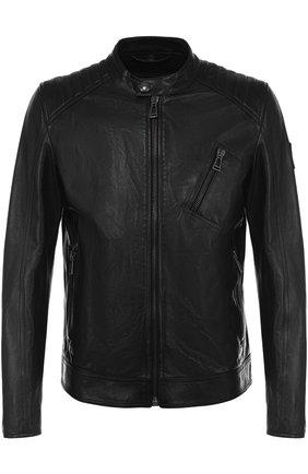 Кожаная куртка на молнии с воротником-стойкой Belstaff черная | Фото №1