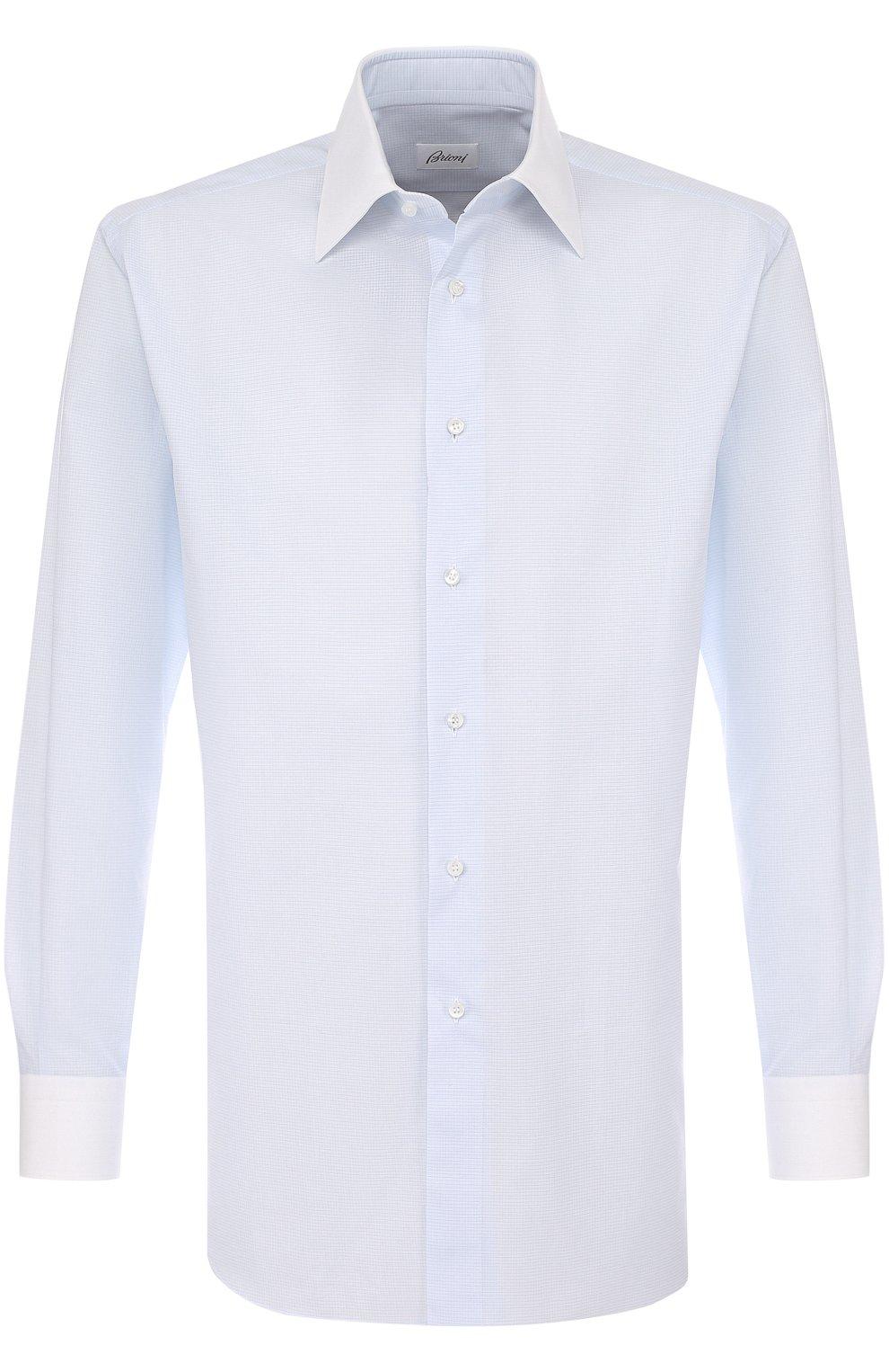 Мужская хлопковая сорочка с воротником кент BRIONI светло-голубого цвета, арт. RCL96B/P707V   Фото 1