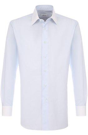 Мужская хлопковая сорочка с воротником кент BRIONI светло-голубого цвета, арт. RCL96B/P707V | Фото 1