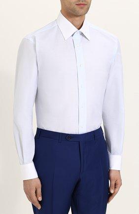Мужская хлопковая сорочка с воротником кент BRIONI светло-голубого цвета, арт. RCL96B/P707V   Фото 3