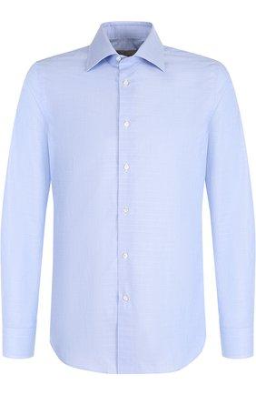 Хлопковая сорочка с воротником кент Canali голубая | Фото №1