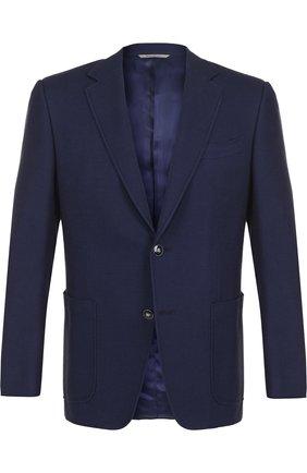 Однобортный хлопковый пиджак Canali темно-синий   Фото №1