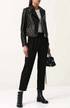 Кожаная куртка с косой молнией и отложным воротником Yohji Yamamoto черная   Фото №1