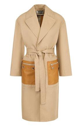 Хлопковое однотонное пальто с кожаными карманами | Фото №1