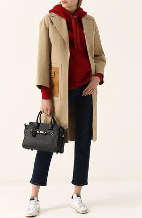 Хлопковое однотонное пальто с кожаными карманами Yves Salomon бежевого цвета | Фото №1