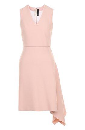 Приталенное мини-платье с V-образным вырезом Roland Mouret светло-розовое | Фото №1