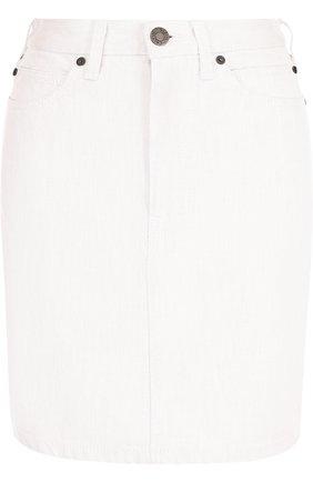 Однотонная джинсовая мини-юбка | Фото №1