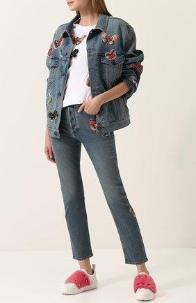 Женская джинсовая куртка с потертостями и отделкой в виде бабочек VALENTINO светло-голубого цвета, арт. PB3DC00Q/1LL | Фото 2