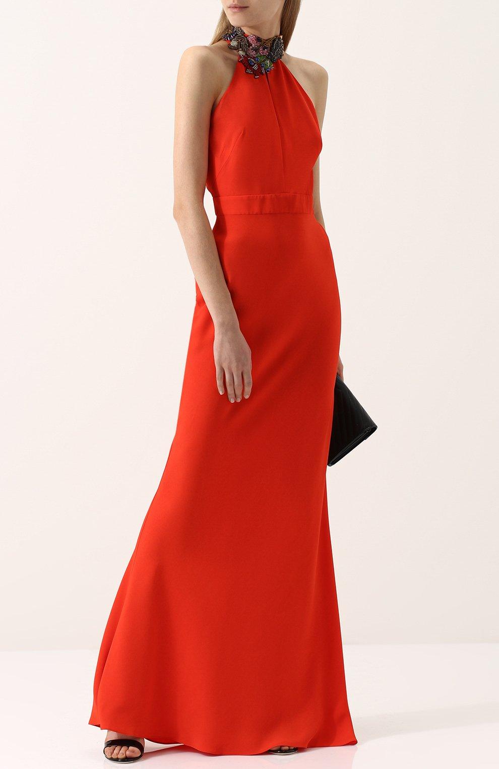 Платье-макси с открытой спиной и декорированным воротником-стойкой | Фото №2