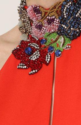Платье-макси с открытой спиной и декорированным воротником-стойкой | Фото №5