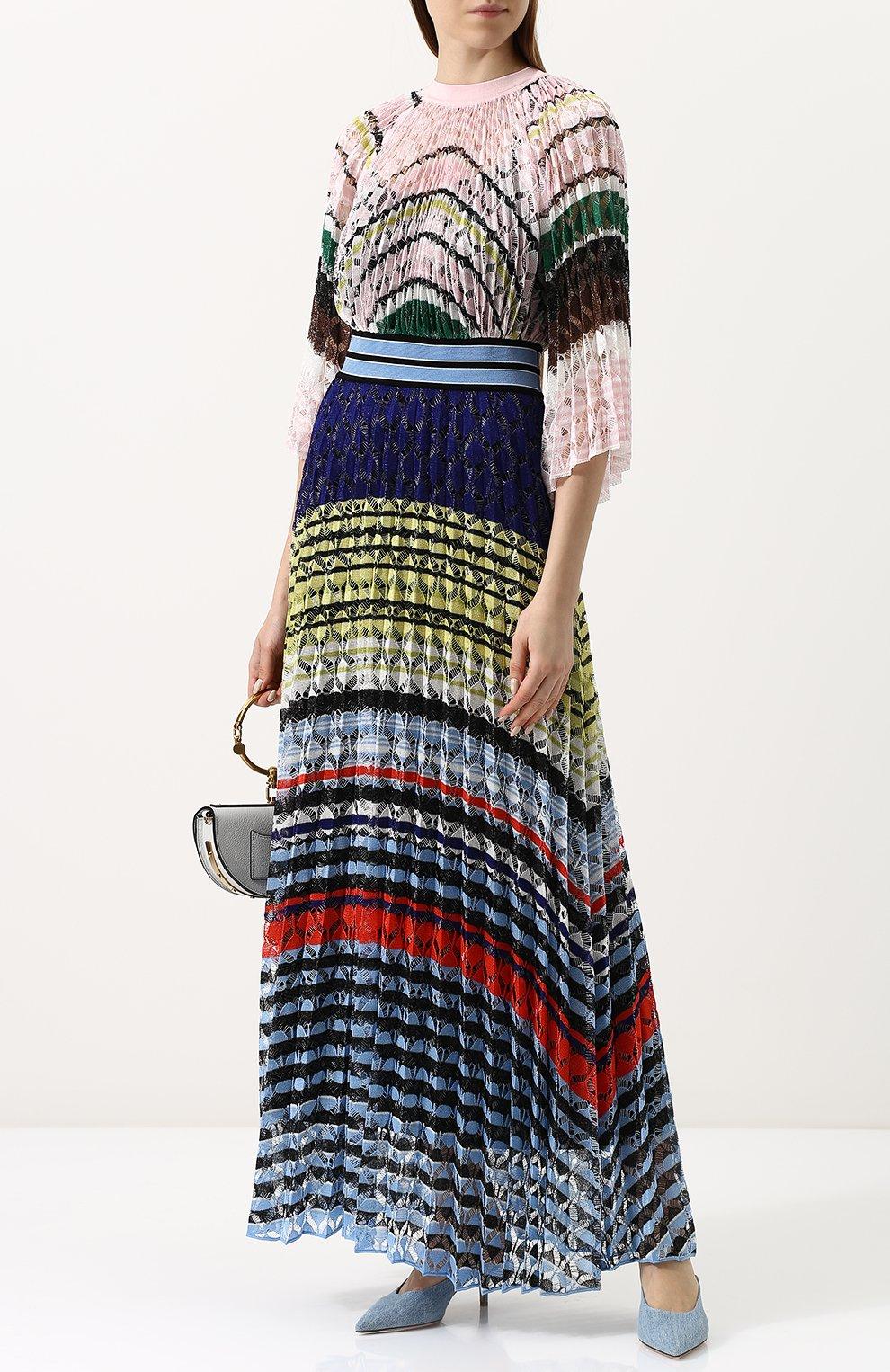 Приталенное вязаное платье-макси Missoni разноцветное | Фото №2
