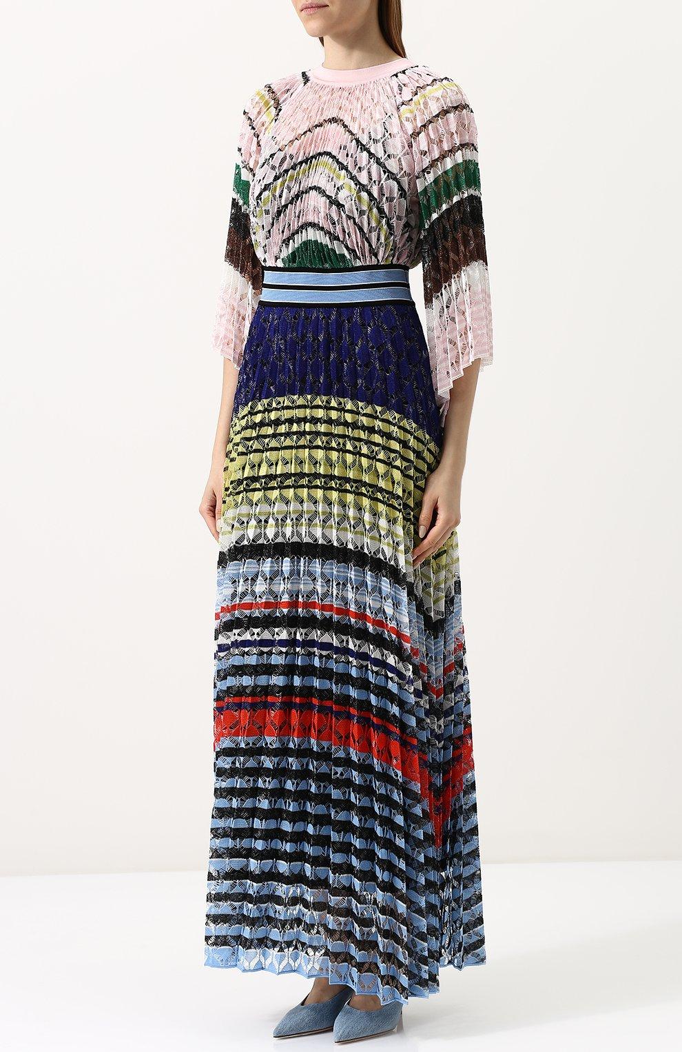 Приталенное вязаное платье-макси Missoni разноцветное | Фото №3