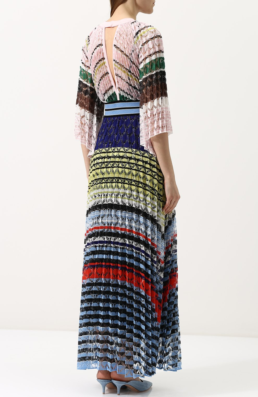 Приталенное вязаное платье-макси Missoni разноцветное | Фото №4