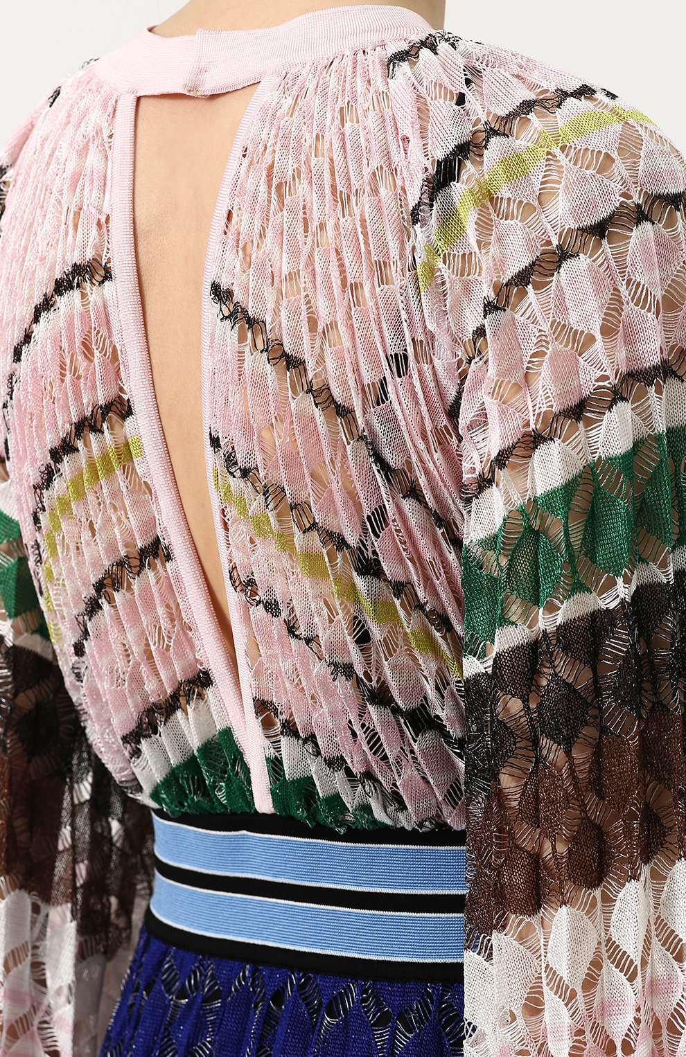 Приталенное вязаное платье-макси Missoni разноцветное | Фото №5