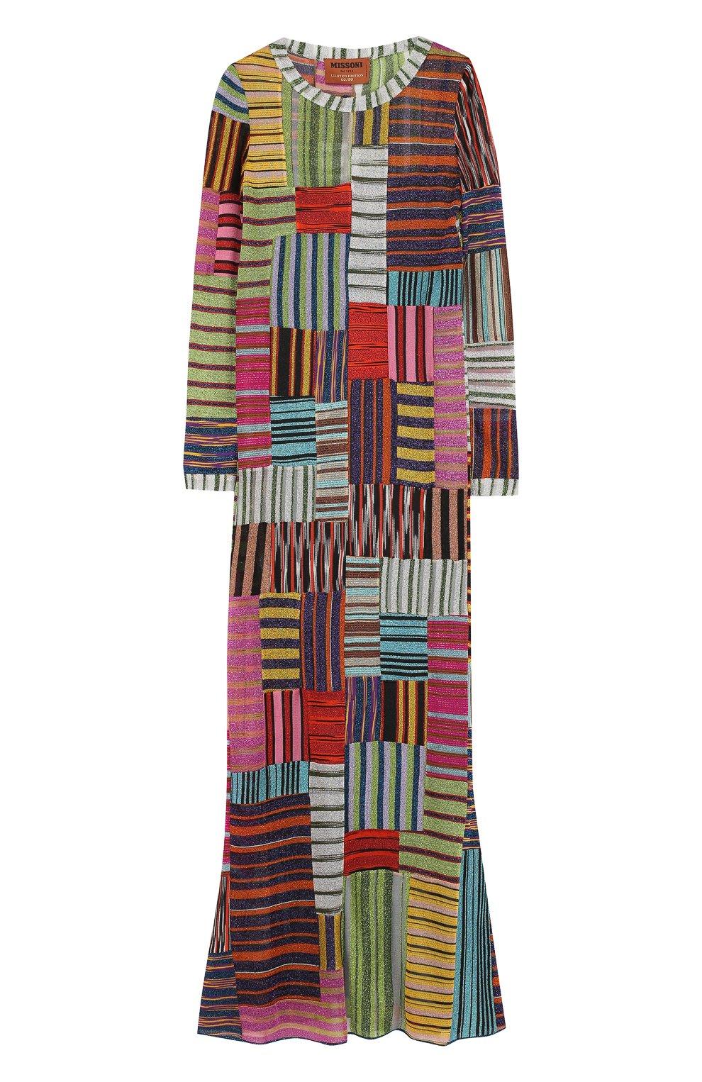 Приталенное вязаное платье-макси | Фото №1