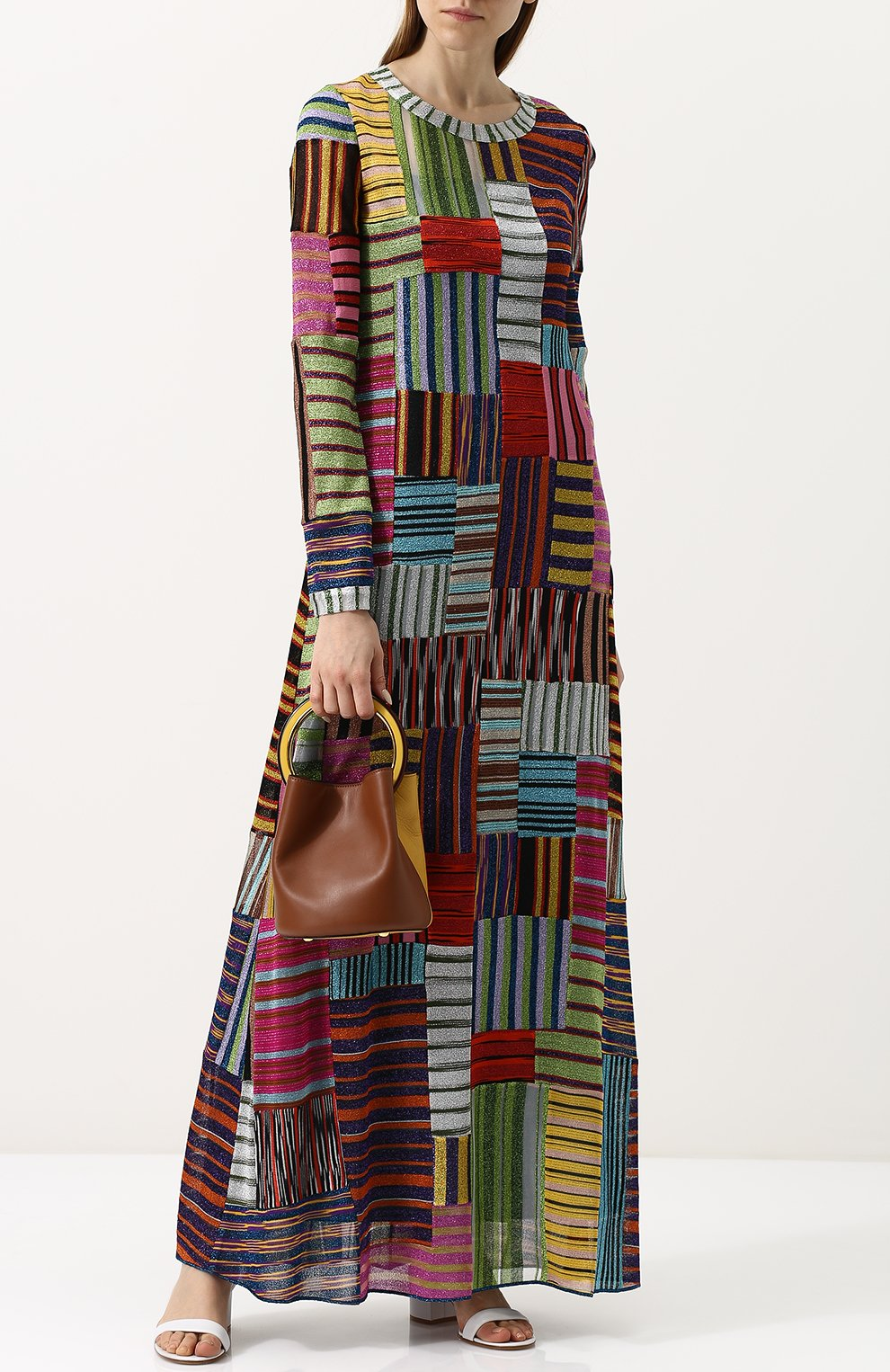 Приталенное вязаное платье-макси | Фото №2