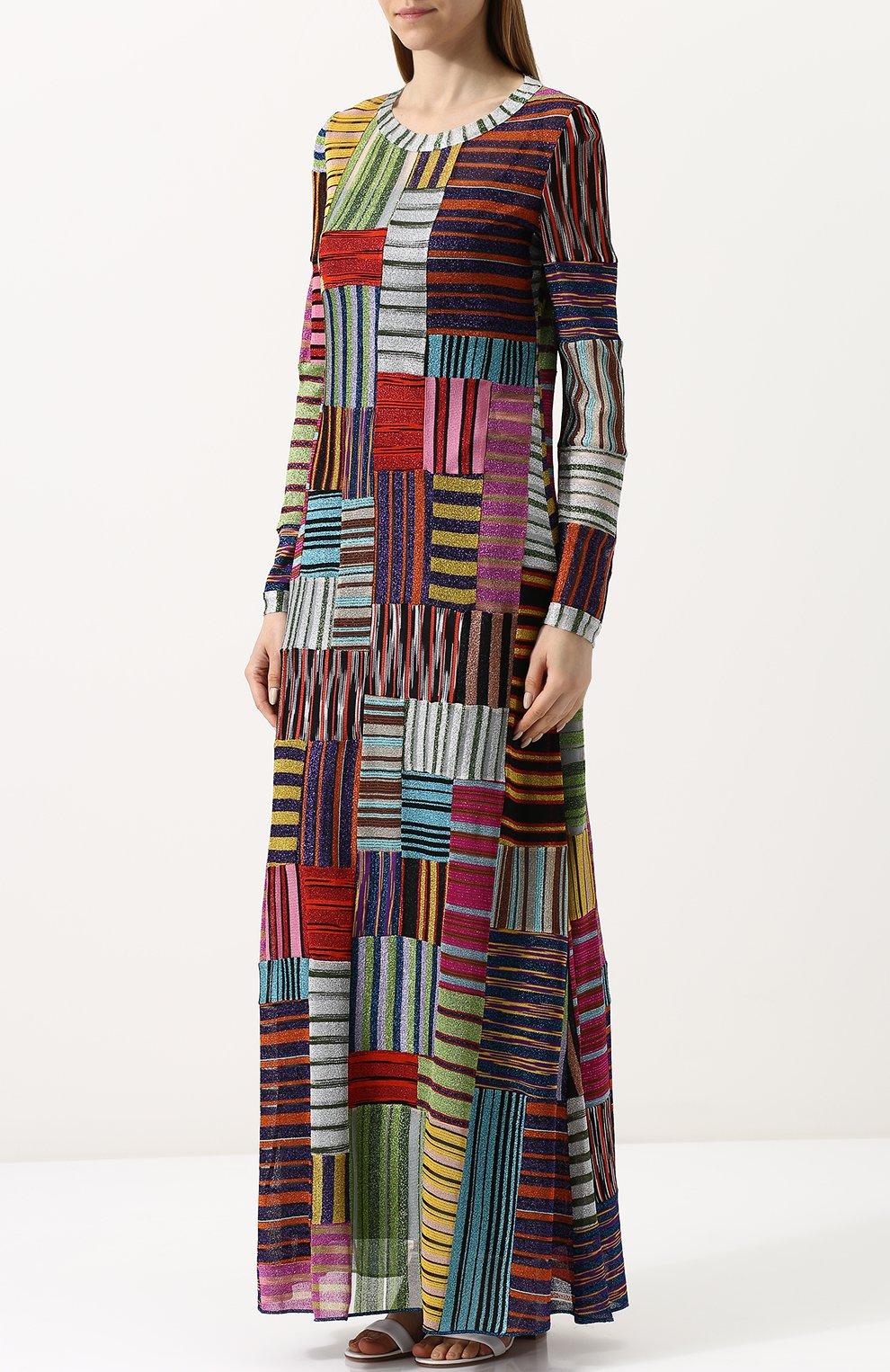 Приталенное вязаное платье-макси | Фото №3