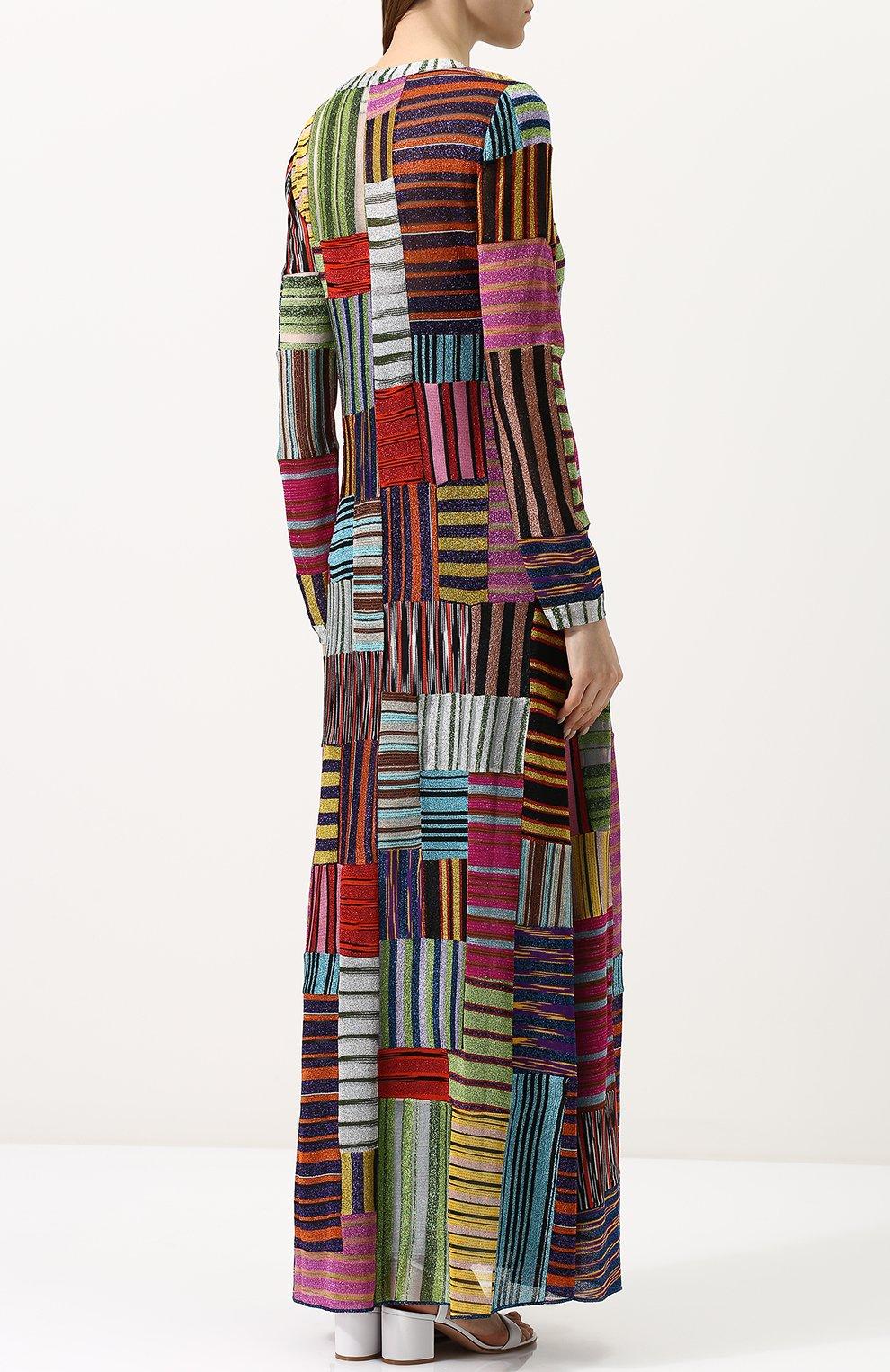 Приталенное вязаное платье-макси | Фото №4