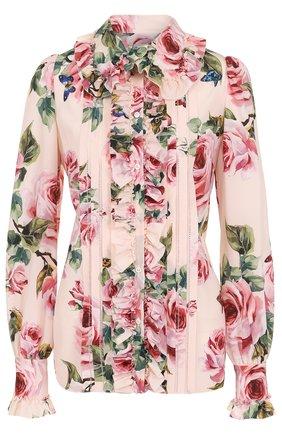 Приталенная шелковая блуза с цветочным принтом