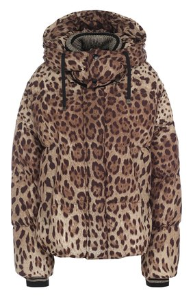 Стеганый пуховик свободного кроя с леопардовым принтом и капюшоном | Фото №1