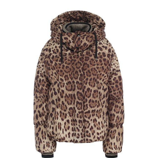 Стеганый пуховик свободного кроя с леопардовым принтом и капюшоном Dolce & Gabbana