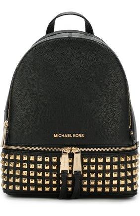 Кожаный рюкзак Rhea Zip Small MICHAEL Michael Kors черный   Фото №1