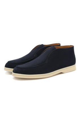 Женские замшевые ботинки open walk LORO PIANA темно-синего цвета, арт. FAE9959 | Фото 1
