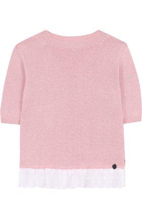 Хлопковый пуловер с кружевной отделкой | Фото №1