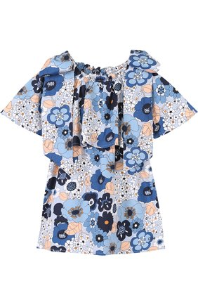 Хлопковое мини-платье свободного кроя с принтом и бантами | Фото №1