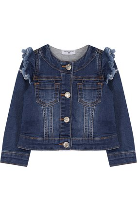 Укороченная джинсовая куртка с оборками и пайетками | Фото №1
