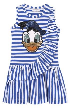Хлопковое платье с оборками и пайетками | Фото №1