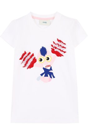 Хлопковая футболка с принтом и бахромой | Фото №1