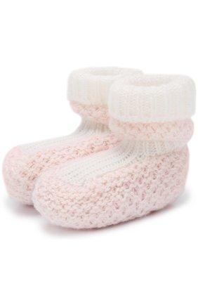 Детские кашемировые носки фактурной вязки LORO PIANA розового цвета, арт. FAG2016 | Фото 1