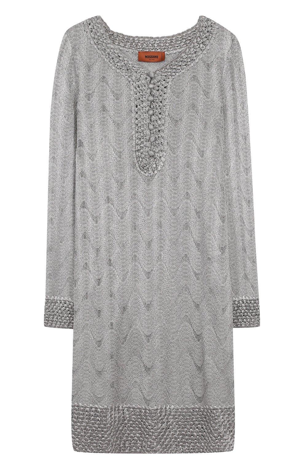 Вязаное мини-платье с V-образным вырезом | Фото №1