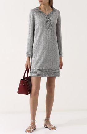 Вязаное мини-платье с V-образным вырезом | Фото №2