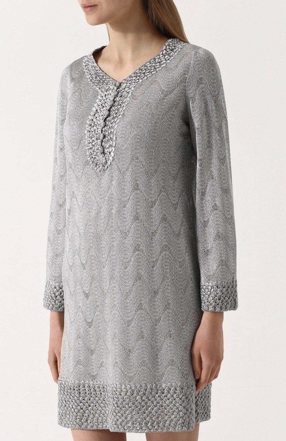 Вязаное мини-платье с V-образным вырезом | Фото №3